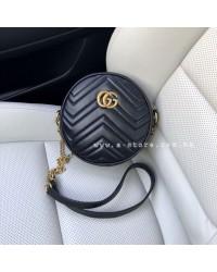 Тренд. Круглая сумка в ст. Gucci через плечо. Черный цвет