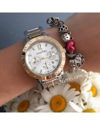 Красивые женские часы в стиле Pandora. Комбинированная расцветка